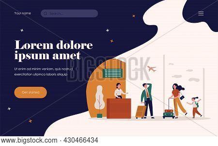 Travelers Running For Flight Registration. Passenger, Plane, Airport Flat Vector Illustration. Vacat