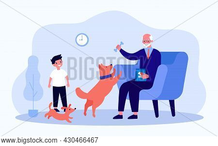 Grandfather And Grandson Playing With Dogs In Living Room. Flat Vector Illustration. Boy, Puppy, Gra