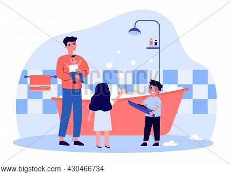Single Father Filling Tub With Water For Children. Man Bathing Daughter And Sons In Foamy Bathtub Fl