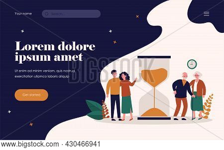Time Of Young And Senior People. Couples Standing Near Hourglass Flat Vector Illustration. Age, Life