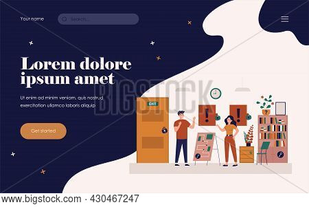 Happy People Playing In Quest Escape Room Isolated Flat Vector Illustration. Cartoon Adventurers Or