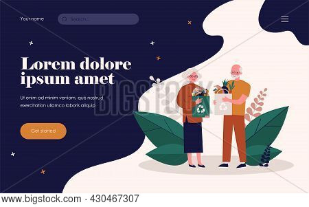 Senior Couple Shopping With Reusable Bags. Old People With Paper Bags With Organic Food Flat Vector