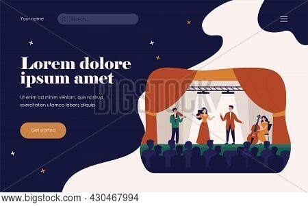 Singers Playing In Tragedy Opera For Audience Isolated Flat Vector Illustration. Cartoon Woman And M