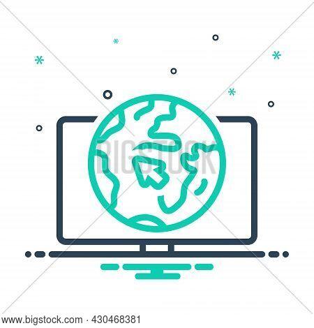 Mix Icon For Online Internet Visit Browser Webpage World Globe Digital Cursor