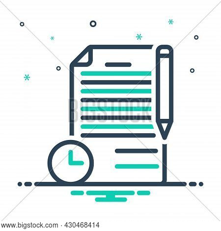 Mix Icon For Term Period Duration Conditions Document Deal Phrase Long-term Contract Agreement