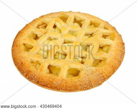 Apple Fruit Lattice Pie With Sweet Shortcrust Pastry Isolated On A White Background
