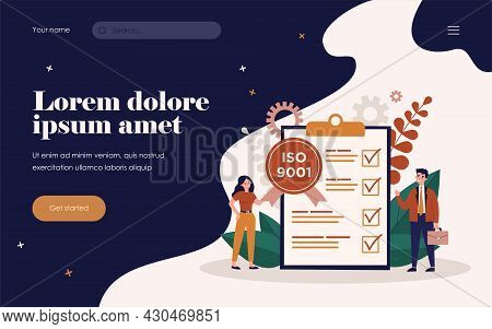 Tiny Business People Meeting Quality Control Standards And Getting Certificate. Flat Vector Illustra