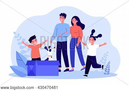 Happy Family Adopting Cute Dog Sitting In Cardboard Box. Parents And Kids Smiling While Looking At H