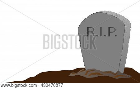 A Gravestone With R.i.p. Text Set Against A White Background