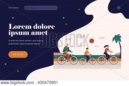 Happy People In Different Ages Cycling Along Sea. Health, Grandfather, Boy Flat Vector Illustration.