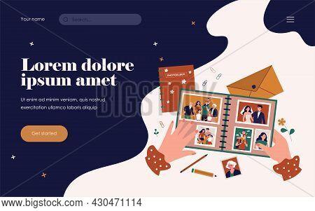 Female Photographer Hands Holding Family Photo Album Flat Vector Illustration. Cartoon Characters On