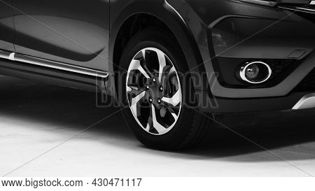 Car Body Parts Side View. Automotive Car Parts Such As Window Wheel Headlight
