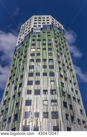 Groningen, Netherlands - March 21, 2020: Facade Of The Modern Skyscraper De Helix In Groningen, Neth