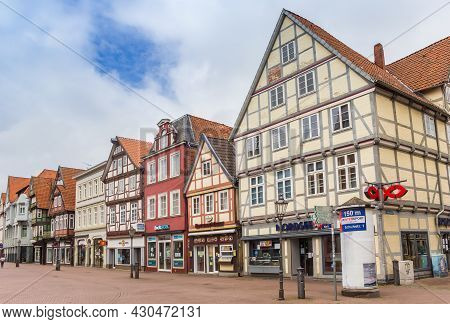 Celle, Germany - July 05, 2020: Half Timbered Houses In The Shopping Street Of Celle, Germany