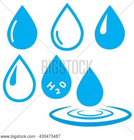 Abstract Set Of Blue Water Drop Icons On White Background. Blue Water Drop Sign. Droplet Logo. Blue