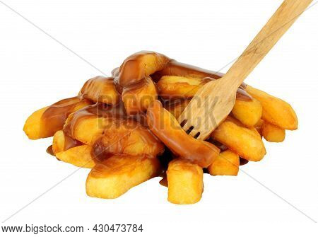 Portion Of Chips And Gravy Isolated On A White Background