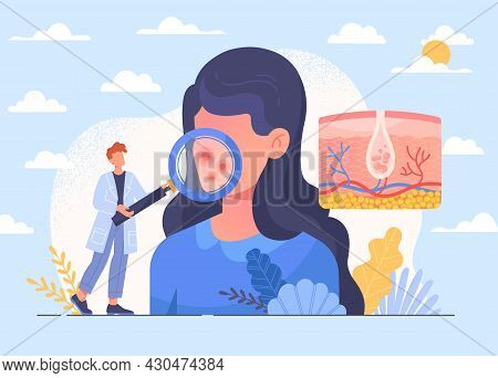 Skin Health Care And Dermatology Abstract Concept. Dermatologist Examining Female Patients Face. Doc