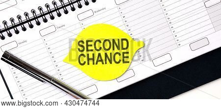 Text Second Chance , On The Yellow Sticker On Planning