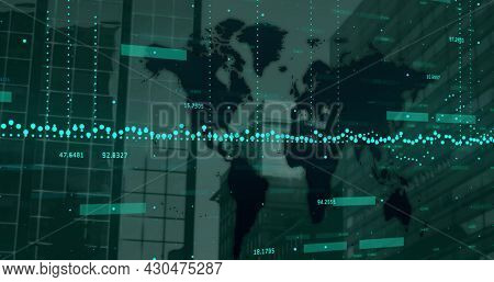 Image of financial data processing over world map and modern office buildings. global business and finances concept digitally generated image.