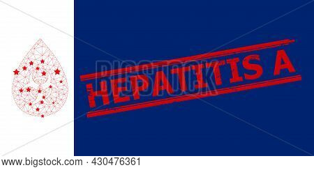 Mesh Biohazard Drop Polygonal 2d Vector Illustration, And Red Hepatitis A Unclean Rubber Print. Carc