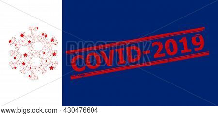 Mesh Covid-2019 Virus Polygonal Icon Vector Illustration, And Red Covid-2019 Corroded Seal. Carcass