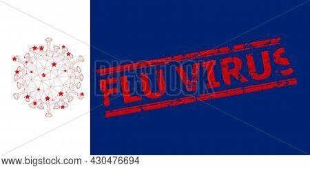 Mesh Flu Virus Polygonal Symbol Vector Illustration, And Red Flu Virus Corroded Seal. Model Is Creat