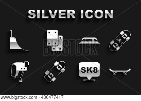 Set Skateboard, Broken Skateboard, Helmet, Stairs With Rail, Park And Knee Pads Icon. Vector