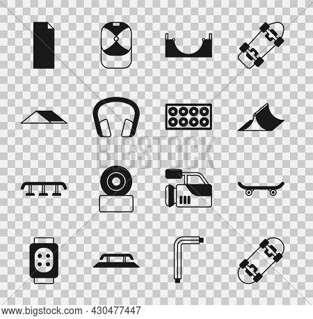 Set Skateboard, Park, Headphones, Grip Tape Skateboard And Wheel Icon. Vector