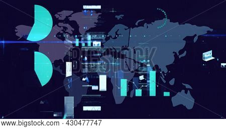 Digital image of digital interface with data processing against world map on blue background. computer interface and global networking concept.