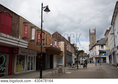 Views Of The High Street In Andover With St Mary's Church, Hampshire In The Uk, Taken 26th May 2021