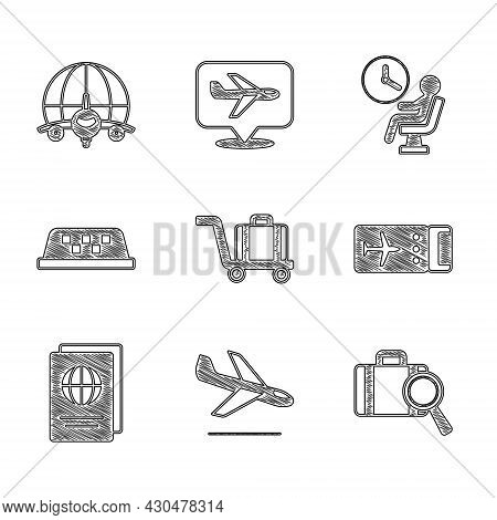 Set Trolley Baggage, Plane Landing, Lost, Airline Ticket, Passport, Taxi Car Roof, Human Waiting Air