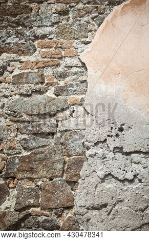 Abstract Backdrop. Texture Of A Stone Wall. Old Castle Stone Wall Texture Background. Gray Large Sto