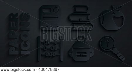 Set School Backpack, Apple, Abacus, Unknown Search, Book And Dossier Folder Icon. Vector