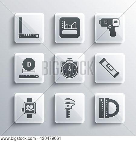 Set Calliper Or Caliper And Scale, Protractor Ruler, Construction Bubble Level, Stopwatch, Smart, Di