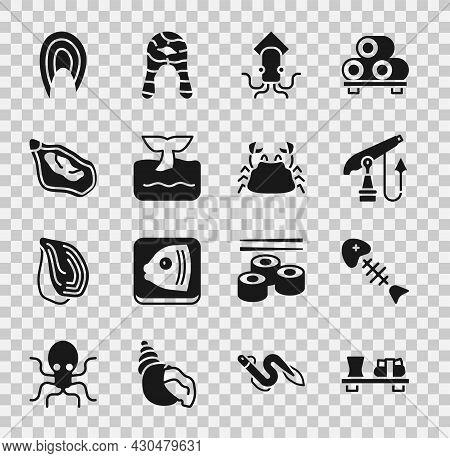Set Sushi On Cutting Board, Fish Skeleton, Fishing Harpoon, Octopus, Whale Tail Ocean Wave, Mussel,