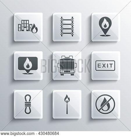 Set Burning Match With Fire, No, Fire Exit, Truck, Climber Rope, Location Flame, Burning Buildings A