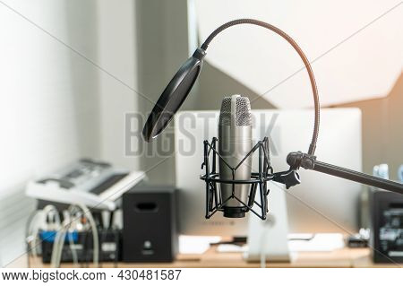 Microphone In Studio Recording Room For Singer Announcers Or Dj, Karaoke Communication Control Elect