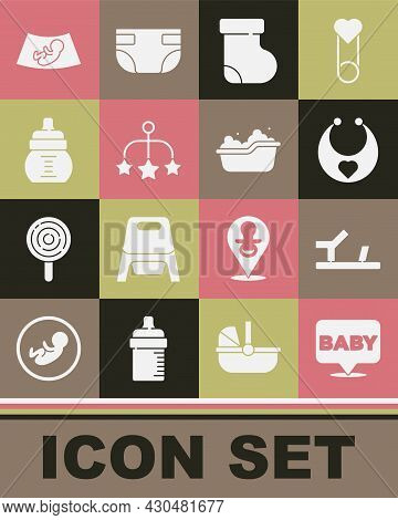 Set Baby, Shoes, Bib, Socks Clothes, Crib Hanging Toys, Bottle, Ultrasound Of Baby And Bathtub Icon.
