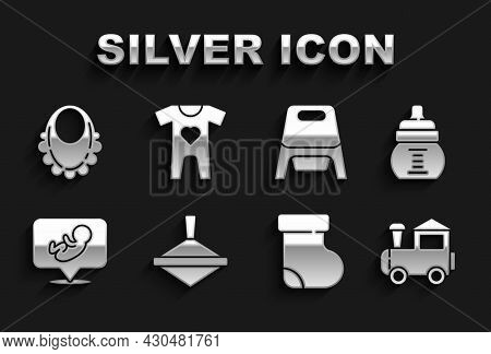 Set Whirligig Toy, Baby Bottle, Toy Train, Socks Clothes, Potty, Bib And Icon. Vector