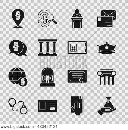 Set Bribe Money Bag, Law Pillar, Police Cap With Cockade, Judge, Prison Window, Location Law And Saf