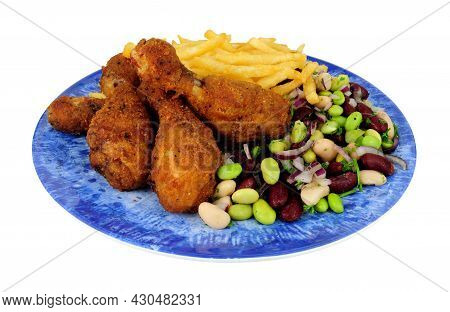 Southern Fried Chicken Drumsticks Meal With Three Bean Salad And French Fries Isolated On A White Ba