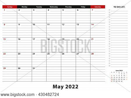 May 2022 Monthly Desk Pad Calendar Week Starts From Sunday, Size A3. May 2022 Calendar Planner With