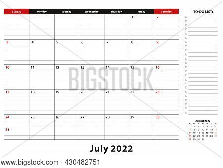July 2022 Monthly Desk Pad Calendar Week Starts From Sunday, Size A3. July 2022 Calendar Planner Wit