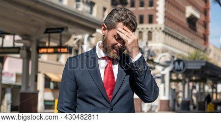 Stressed Businessman. Mature Businessperson In Formalwear. Business Failure.