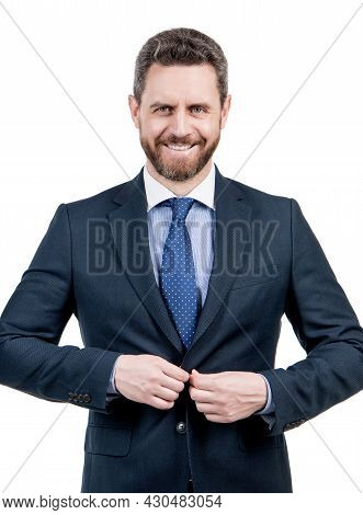 Happy Business Professional Man Adjust Formal Suit Isolated On White, Director