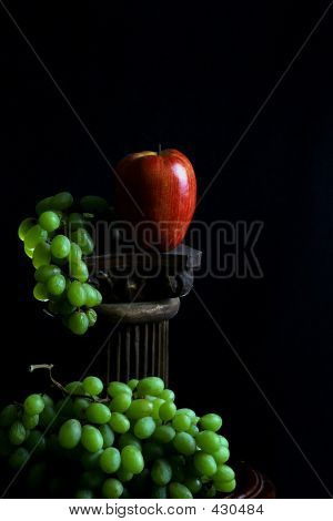 Fruits, Green Grapes And Red Apple, Healthy Food