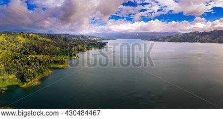Aerial Panorama Of Lake Arenal In Costa Rica