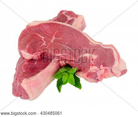 Two Fresh Raw Lamb Meat Rump Steaks Isolated On A White Background