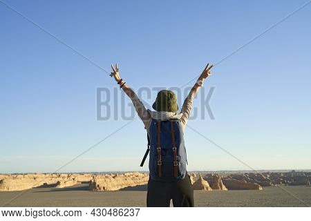Rear View Of Asian Woman Backpacker Looking At View Of The Yardang Landform In Gobi Desert, Arm Outs