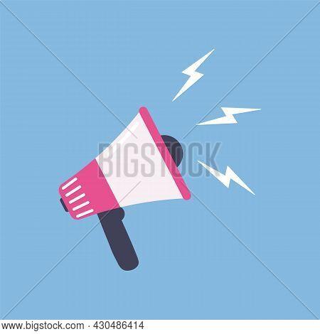 Loudspeaker Flat Illustration. Megaphone Symbol Of News, Social Media Icon. Vector Speackerphone Voi